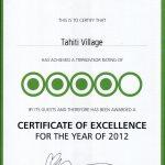 TripAdvisor Cert of Excellence 2012