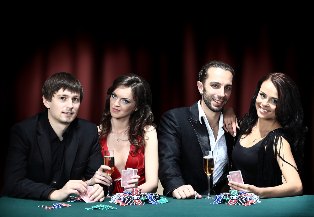 Couples playing poker
