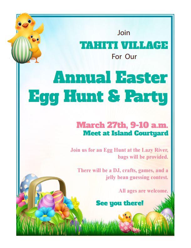 tahiti village easter egg hunt flyer
