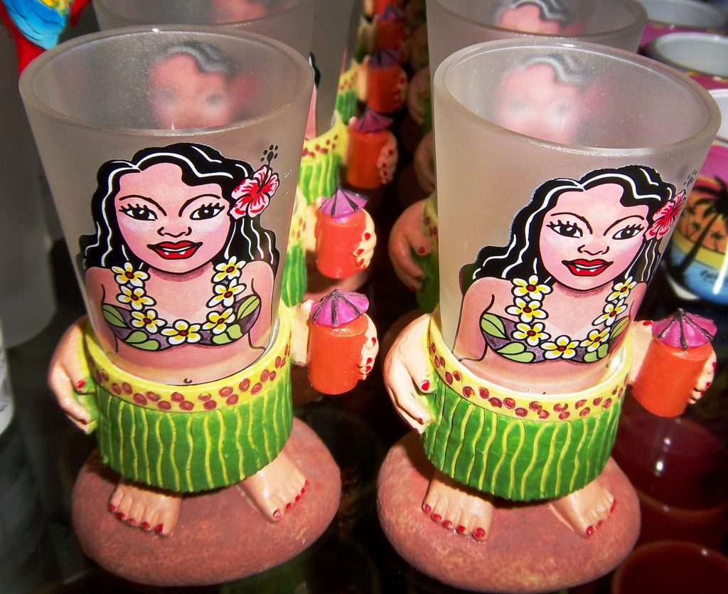 These charming hula girl shot glasses can be yours at the Wiki Wiki. Can you resist their charms?