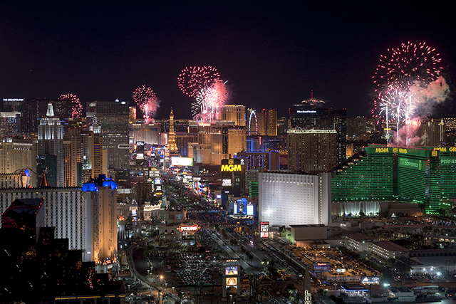 New Year's Eve fireworks over the Strip. Photo by Mark Damon of the Las Vegas News Bureau.