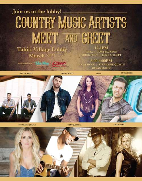 We're going a little bit country this Friday at Tahiti Village. Join us in the main lobby for our meet and greet!