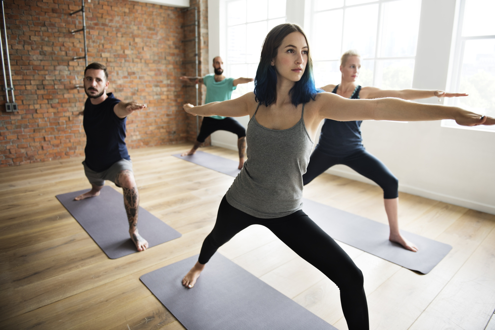 Yogis in the yoga studio.