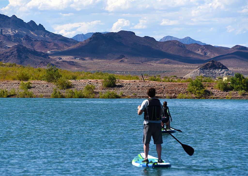 Man paddle boarding on Lake Mead in Las Vegas.