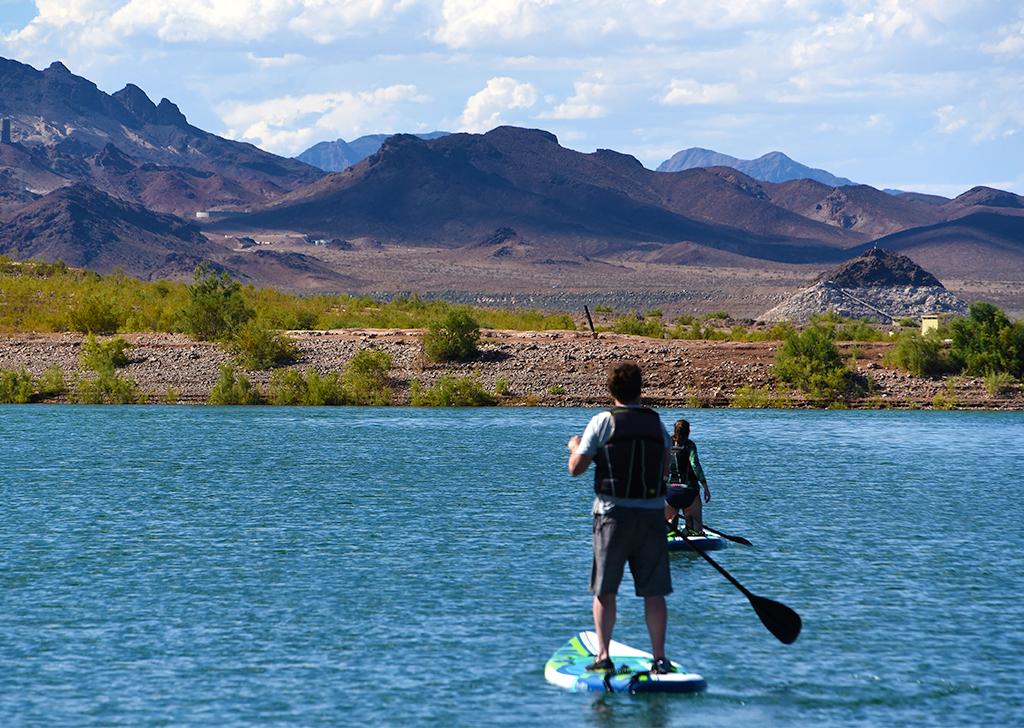 Man paddle boarding on Lake Mead in Las Vegas.