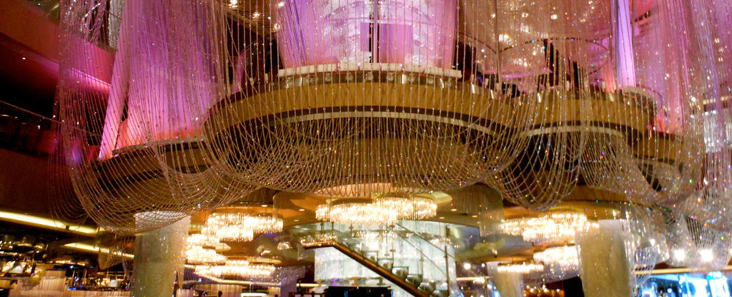 Chandelier Bar in the center of the Cosmopolitan Hotel in Las Vegas .