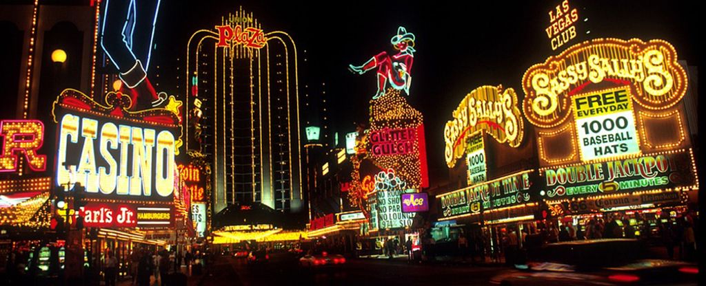 Lights and signs on Fremont Street in Las Vegas.