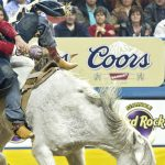 Contestant riding a horse at the NFR.