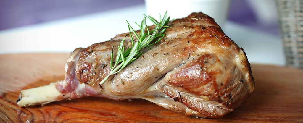 Leg of lamb food dish.