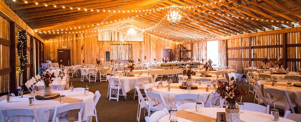 Wedding venue set up for the reception.