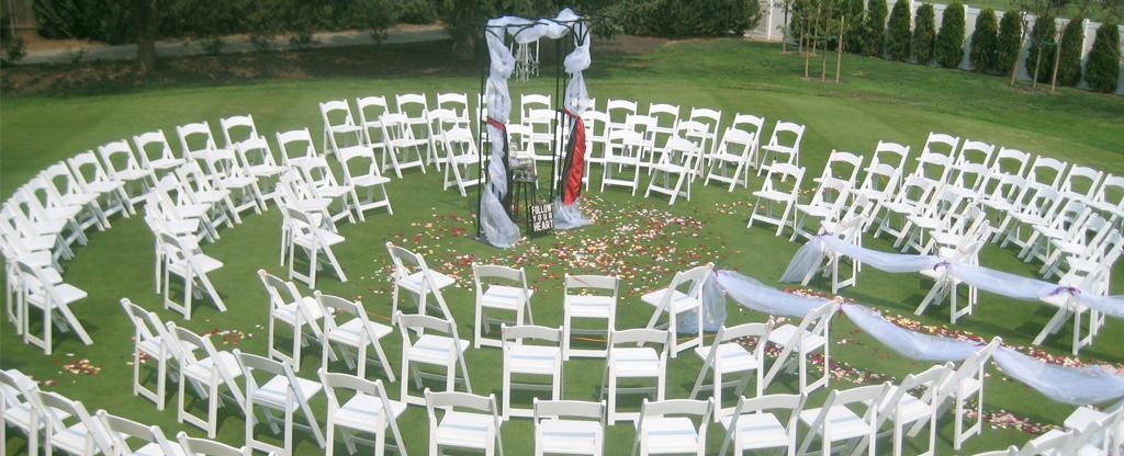 Circular setup for a wedding ceremony.