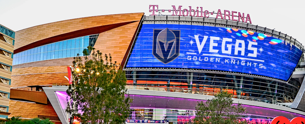 Outside view of the T Mobile Arena, home of the Las Vegas Golden Knights.