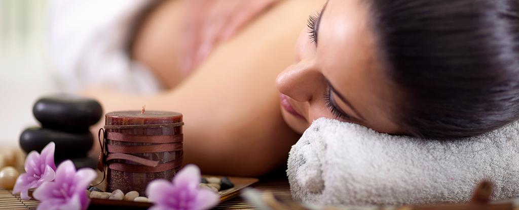 Woman enjoying a relaxing spa day.