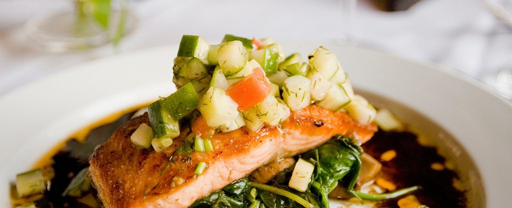 Salmon dinner plate available in Las Vegas.