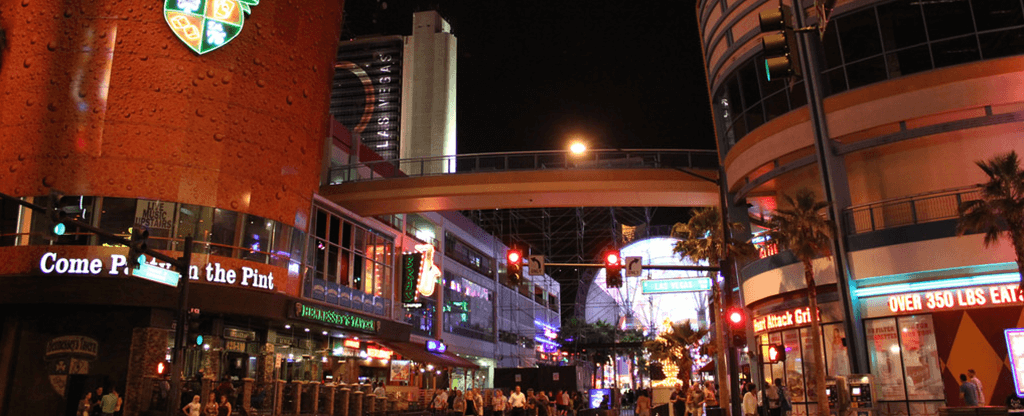End view of the Fremont Street Experience in Downtown Las Vegas.