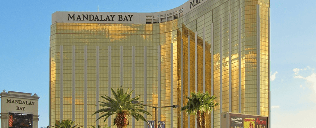 Exterior view of the Mandalay Bay Hotel in Las Vegas.