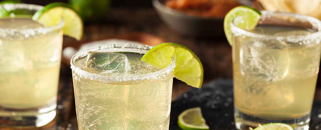 Margaritas on the rocks with salt and lime