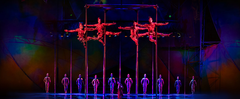 Mystère by Cirque du Soleil performance with acrobats hanging from ropes