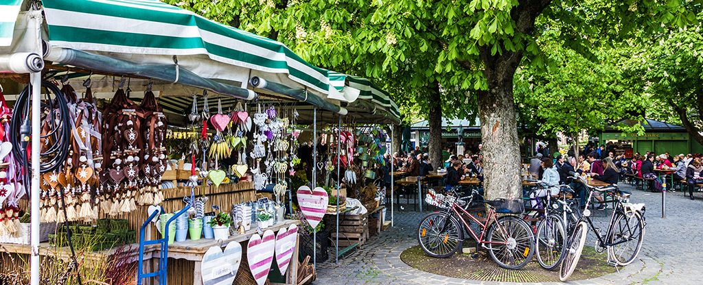 Outdoor summer market place.