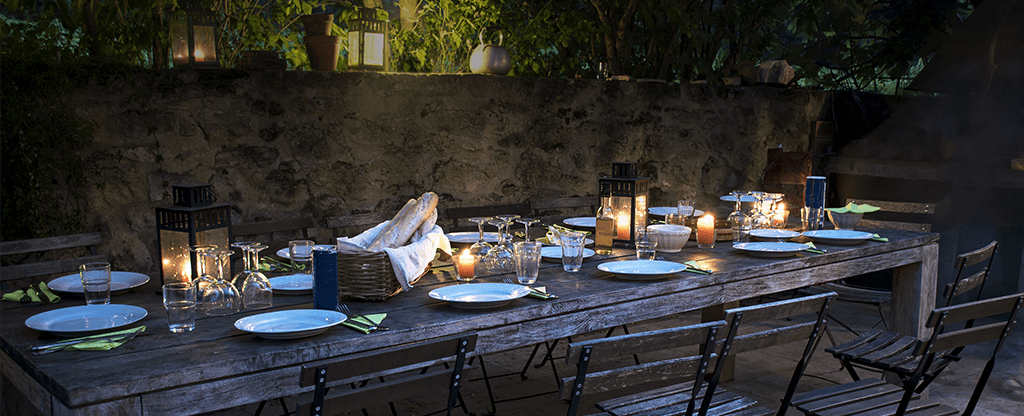 Large table set up for outdoor dining