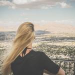 Woman overlooking Las Vegas in the summer