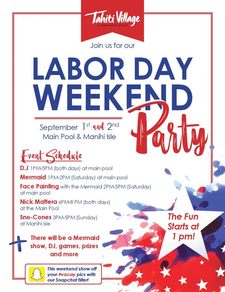 Tahiti Village Labor Day Weekend Activities And Events