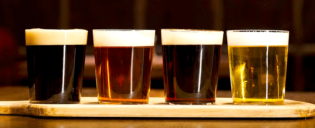 A beer flight at Public House in Las Vegas, Nevada.