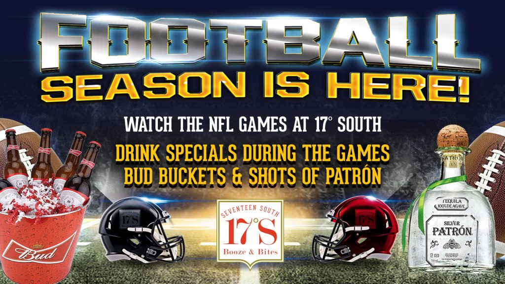 Tahiti Village 17 South Booze & Bites football drink specials